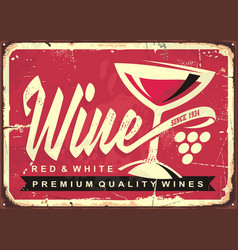 Wine vintage tin sign vector
