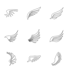 Wings of bird icons set outline style vector
