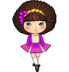 Irish dancing girl in violet traditional dress vector