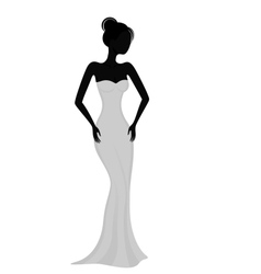 Silhouette of a girl in white evening dress vector image
