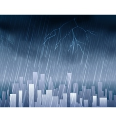 Rainy weather in town blue background vector