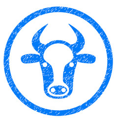 Cow head rounded grainy icon vector
