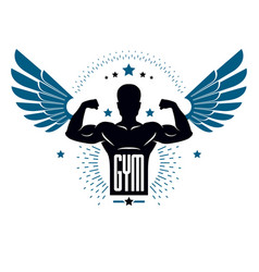 Fitness and heavyweight gym sport club logotype vector