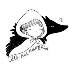 little cute girl and a wolf vector image