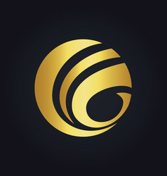 round sphere globe communication gold logo vector image
