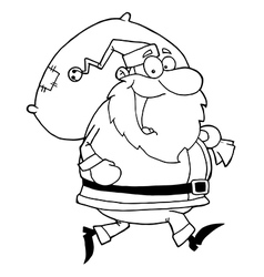 Royalty Free RF Clipart Happy Santa Claus Runs vector image