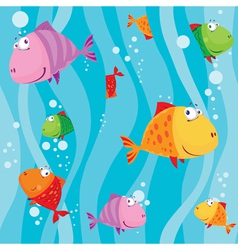 seamless fish in water with waves vector image