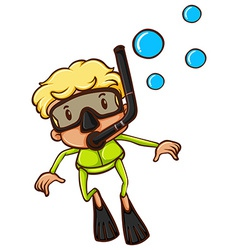 A drawing of a boy snorkeling vector