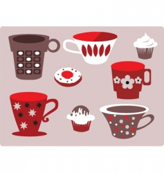 Coffee and cupcakes vector