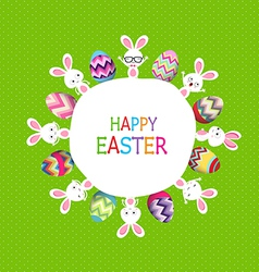Colorful easter eggs and bunny around the globe vector