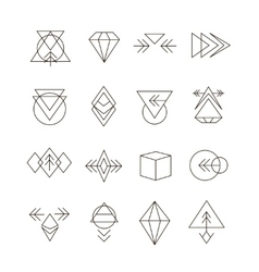 Abstract geometric set with hipster style icons vector