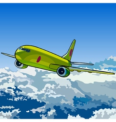Green aircraft flying in the sky above the clouds vector