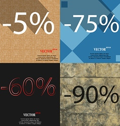 75 60 90 icon set of percent discount on abstract vector