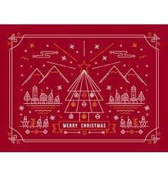 Merry christmas outline tree city winter poster vector