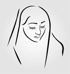 A nun wearing a veil with eyes closed vector