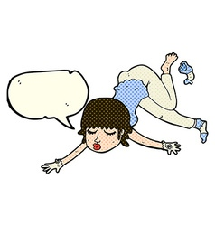 Cartoon woman floating with speech bubble vector