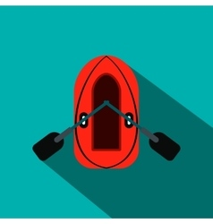Red inflatable boat with oars flat icon vector
