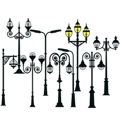 Street lights set vector image