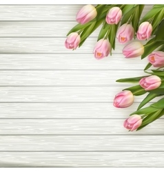 Pink tulips over white wood table eps 10 vector