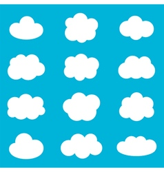 Flat design cartoon cute cloud set collection vector