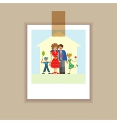 Portrait family posing together vector