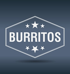 Burritos hexagonal white vintage retro style label vector