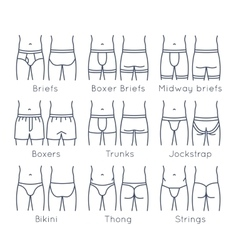 Male underwear types flat line icons set vector