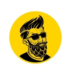 Man with beard in the form of hop emblem vector