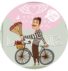 Amorous frenchman on a bicycle with red roses vector