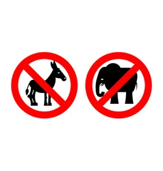 Ban elephant stop donkey prohibited symbols usa vector