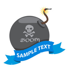 bomb on the pirate theme with ribbon banner vector image vector image
