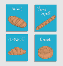 Bread baking flour products set of card vector