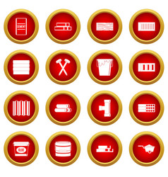 Building materials icon red circle set vector