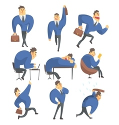 Businessman in a suit different work activities vector