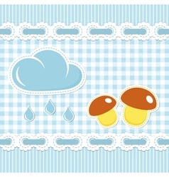 Checked background with mushroom and sun shower vector image vector image