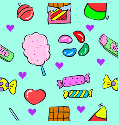 Collection various candy doodle style vector