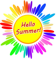 Colorful cartoon sun symbol with caption hello vector