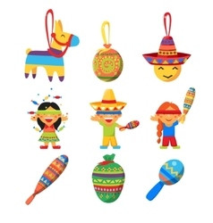 Colourful indian set childish vector