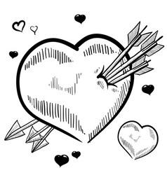 doodle heart arrows love vector image