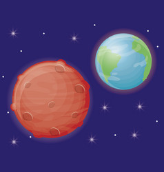 Earth planet and mars icon vector