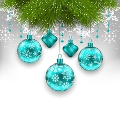 Elegant xmas background with glass hanging balls vector