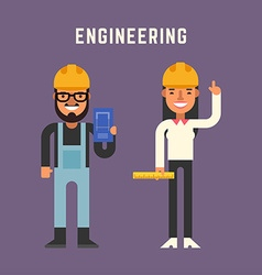 Engineering Concept Male and Female Cartoon vector image vector image