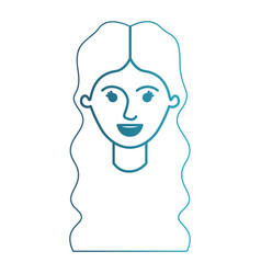 Female face with long wavy hair in degraded blue vector