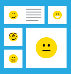 flat icon gesture set of displeased grin vector image