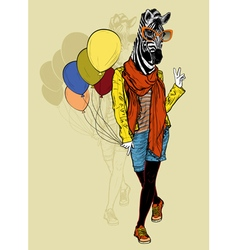 Funny fashion zebra with balloons vector