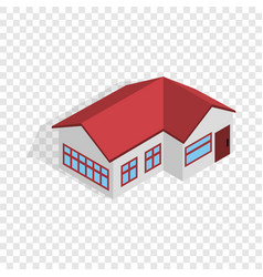House with red roof isometric icon vector