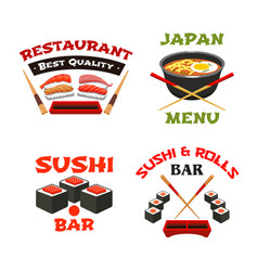 icons template of japanese sushi restaurant vector image