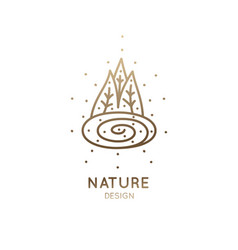 Logo forest lake vector