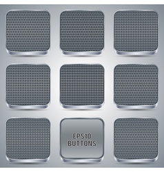 Metallic buttons collection vector image