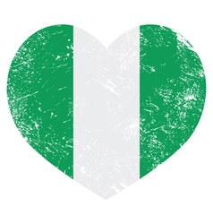 Nigeria retro heart shaped flag vector